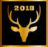 Carte de Noël élégant ou de nouvelle année avec la tête d'or de raindeer et Illustration de Vecteur