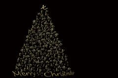 Carte de Noël élégante, lettres d'or de sapin Photos libres de droits