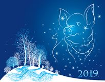 Carte de Noël 2019 ans de l'horoscope de porc photo stock