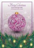 Carte de Noël Arbre de Noël décoré des jouets, des rubans et des lanternes Fond ornementé avec les flocons de neige illustration stock