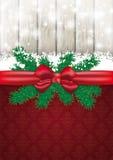 Carte de Noël Ash Wood Red Ribbon Ornaments Photographie stock libre de droits