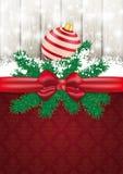 Carte de Noël Ash Wood Red Ribbon Ornaments Photo stock