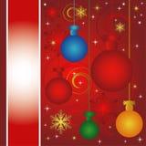 Carte de Noël avec des babioles Photographie stock libre de droits