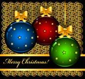 Carte de Noël avec des boules illustration de vecteur
