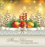 Carte de Noël avec des boules et des bougies Images stock