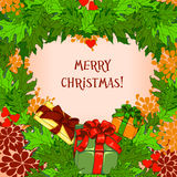 Carte de Noël avec des cadeaux Image stock