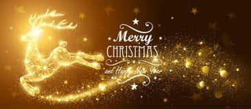 Carte de Noël avec des cerfs communs de magie de silhouette Photographie stock
