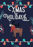Carte de Noël avec des cerfs communs et des lampes Illustration de vecteur illustration stock