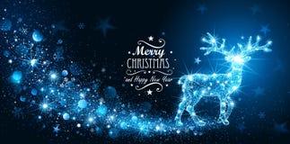 Carte de Noël avec des cerfs communs de magie de silhouette illustration de vecteur