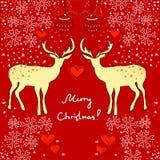 Carte de Noël avec des deers Photos libres de droits