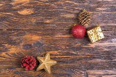 Carte de Noël avec des jouets Photographie stock