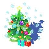 Carte de Noël avec des jouets, cadeaux, arbre de Noël, flocons de neige illustration stock