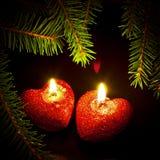 Carte de Noël avec deux bougies Photographie stock libre de droits