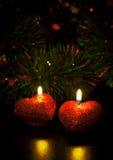 Carte de Noël avec deux bougies Photos libres de droits
