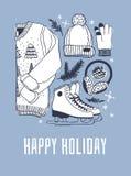 Carte de Noël avec emballer des patins Illustration tirée par la main de mode Oeuvre d'art créative d'encre Glace confortable S d illustration stock