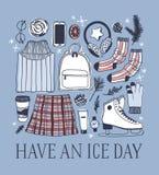 Carte de Noël avec emballer des patins Illustration tirée par la main de mode Oeuvre d'art créative d'encre Glace confortable S d illustration libre de droits