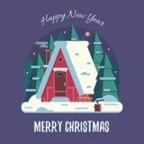 Carte de Noël avec Forest Winter House par nuit Image libre de droits