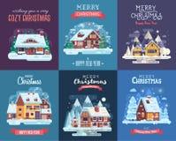 Carte de Noël avec Forest Winter House par nuit illustration stock