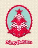 Carte de Noël avec l'arbre abstrait d'origami Photos libres de droits