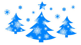 Carte de Noël avec l'arbre bleu photos stock