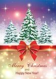 Carte de Noël avec l'arbre de Noël illustration libre de droits