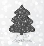 Carte de Noël avec l'arbre de Noël de tableau noir Image stock