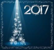 Carte de Noël avec l'arbre de sapin en 2017 illustration libre de droits