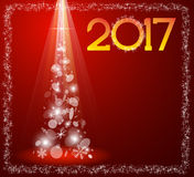 Carte de Noël avec l'arbre de sapin en 2017 illustration de vecteur