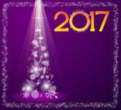 Carte de Noël avec l'arbre de sapin en 2017 Photographie stock libre de droits