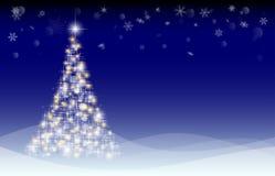 Carte de Noël avec l'arbre de sapin et les congères illustration stock