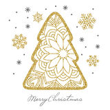 Carte de Noël avec l'arbre et les flocons de neige de Noël d'or de scintillement Photos stock