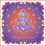 Carte de Noël avec l'arbre et les flocons de neige de sapin Photos libres de droits