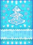 Carte de Noël avec l'arbre et les flocons de neige de sapin Images stock