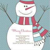 Carte de Noël avec l'homme de neige. Illustration de vecteur Image stock