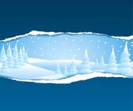 Carte de Noël avec l'horizontal neigeux Images stock