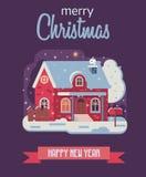 Carte de Noël avec la Chambre d'hiver de ferme par nuit Photographie stock libre de droits