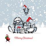 Carte de Noël avec la famille de chats heureuse illustration libre de droits