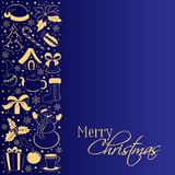 Carte de Noël avec la frontière verticale des symboles d'hiver Silhouettes d'or d'un bonhomme de neige, cadeau, houx, poinsettia, Photographie stock