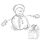 Carte de Noël avec le bonhomme de neige Images stock