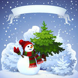Carte de Noël avec le bonhomme de neige Photo libre de droits