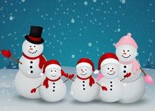 Carte de Noël avec le bonhomme de neige et la famille Photographie stock libre de droits