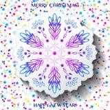 Carte de Noël avec le flocon de neige et les confettis Images libres de droits