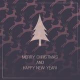 Carte de Noël avec le fond de cerfs communs Photos libres de droits