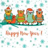 Carte de Noël avec le hibou de bande dessinée illustration de vecteur