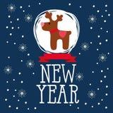 Carte de Noël avec le renne et les flocons de neige Image libre de droits