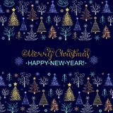 Carte de Noël avec les arbres tirés par la main Photographie stock libre de droits