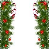 Carte de Noël avec les baies et le ruban rouge Photos stock