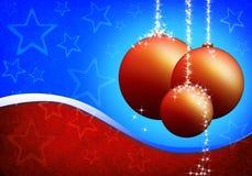 Carte de Noël avec les billes en verre Images stock
