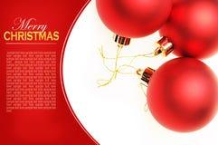 Carte de Noël avec les billes rouges Photo libre de droits