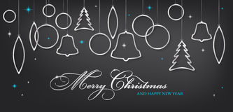 Carte de Noël avec les boules argentées brillantes abstraites de Noël Photographie stock